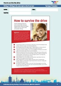 Worksheets Year 10: How to survive the drive Writing 4