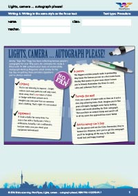 Worksheets Year 7: Lights, camera... autograph please! - Writing 4