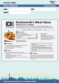 Worksheets Year 7: Dinner For Writing 3