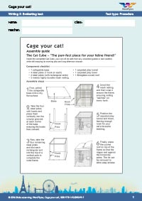 Worksheets Year 8: Cage Your Cat - Writing 3