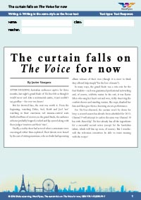 Worksheets Year 8: The curtain falls on The Voice for now - Writing 4