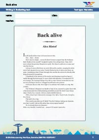 Worksheets Year 9: Back alive Writing 3